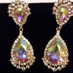 Bridal Teardrop Crystal Dangle Chandelier Earrings